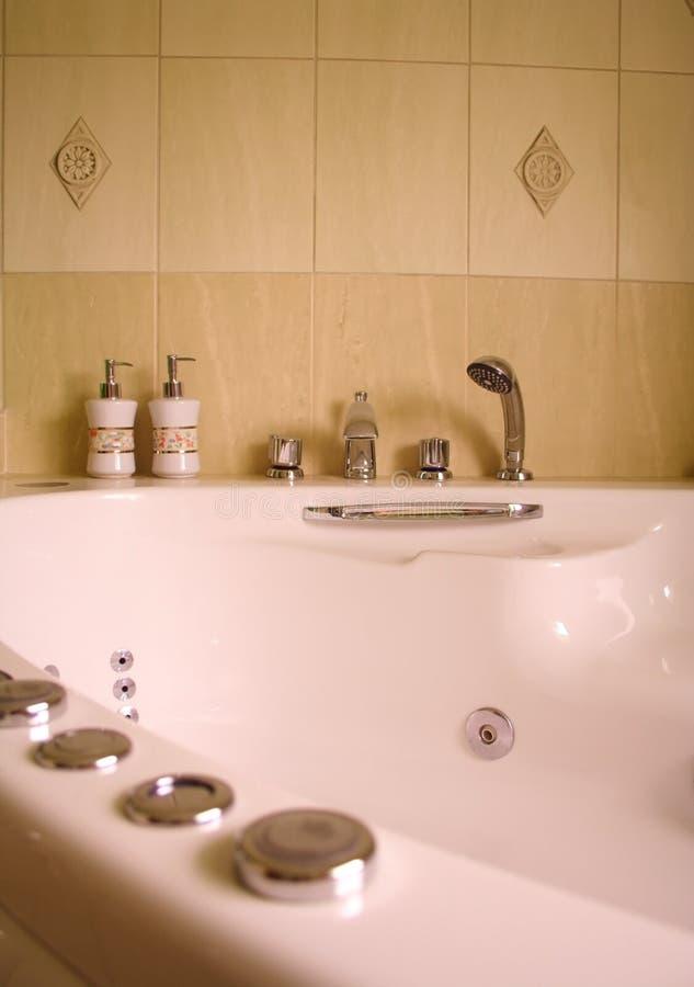 Interior of modern bathroom with jacuzzi stock photos
