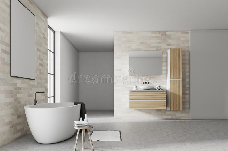 White and brick bathroom interior poster stock illustration