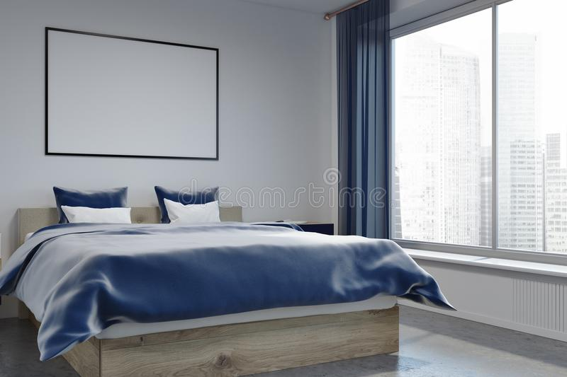 Download White Wall Bedroom Interior, Poster Side View Stock Illustration    Illustration Of Copy,