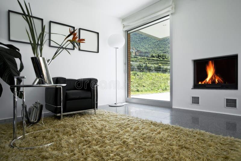 Interior modern brick house stock image