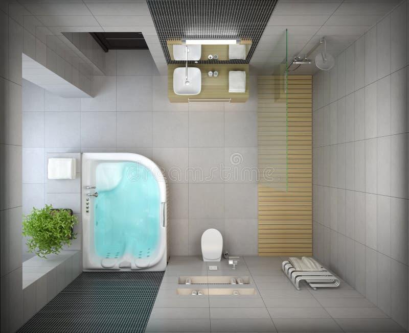 Download Interior Of The Modern Design Bathroom Top View Stock Illustration
