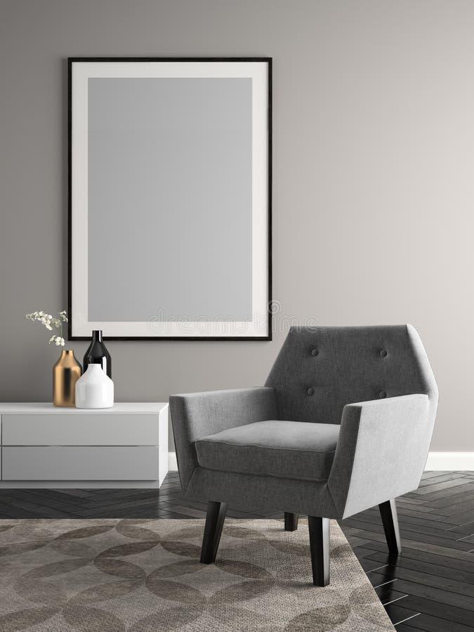 Interior modern design room 3D illustration vector illustration