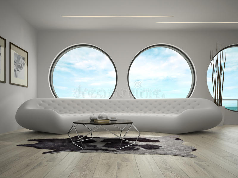 Interior of modern design room with sea view 3D rendering.  stock photo