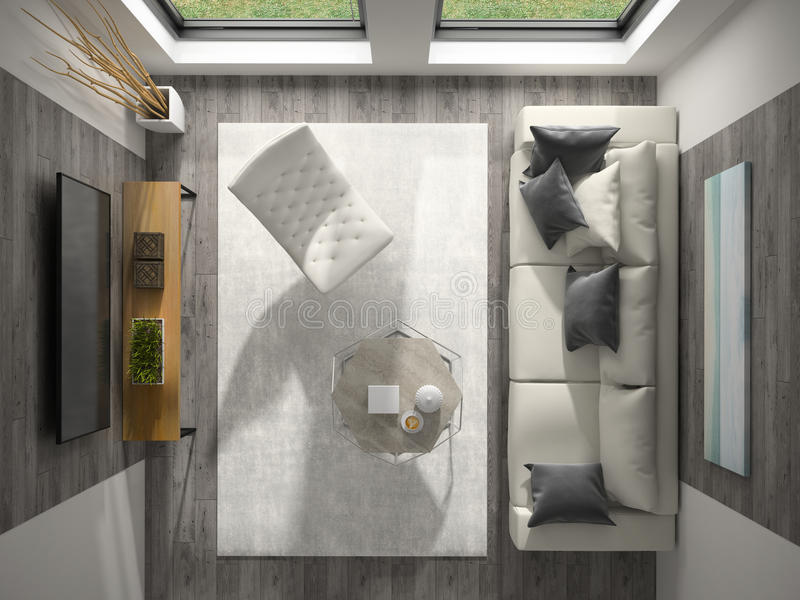 Interior of modern design room top view 3D rendering.  royalty free stock photo