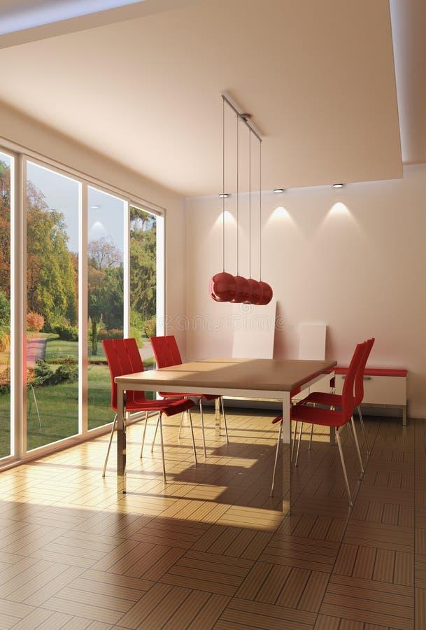 Interior of a modern dining room stock illustration