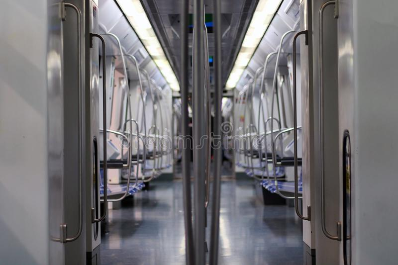 Interior of a modern and empty subway car royalty free stock image