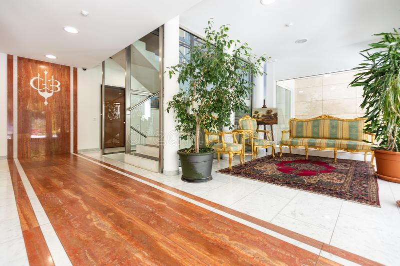 Interior modern entrance with elegant condominium marble royalty free stock images