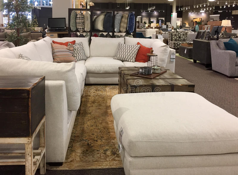 Interior of a modern furniture market TX stock photography