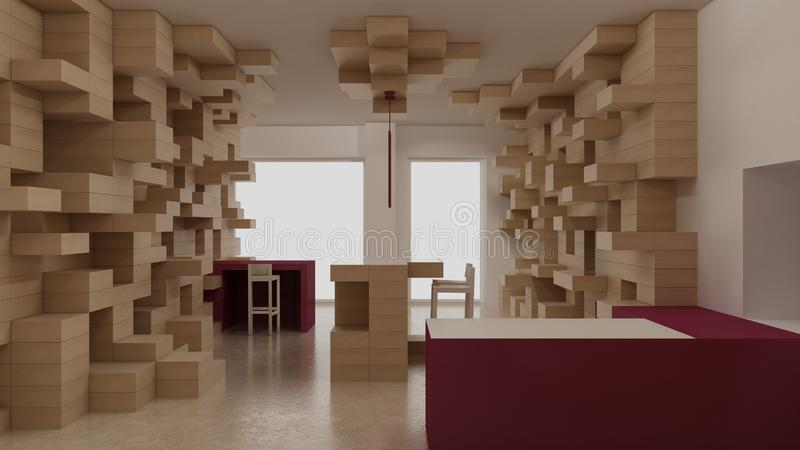 Interior of modern generic store, design template, commercial space, wooden exposition, minimalist architecture with marble floor. And purple colored details royalty free stock images