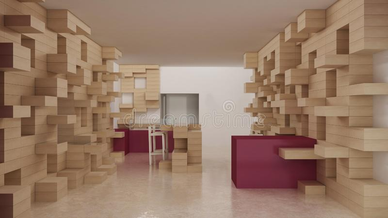 Interior of modern generic store, design template, commercial space, wooden exposition, minimalist architecture with marble floor. And purple colored details stock image