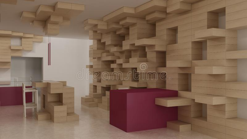 Interior of modern generic store, design template, commercial space, wooden exposition, minimalist architecture with marble floor. And purple colored details royalty free stock photo
