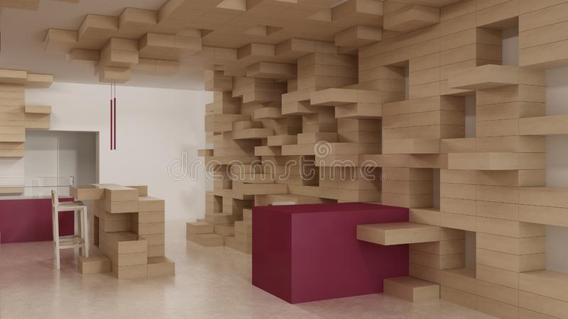 Interior of modern generic store, design template, commercial space, wooden exposition, minimalist architecture with marble floor. And purple colored details stock photography