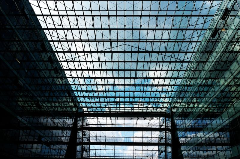 interior of modern glass architecture building stock image