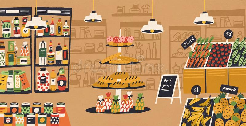 Interior of modern grocery store with products lying on shelves and price tags. Assortment of food at supermarket vector illustration