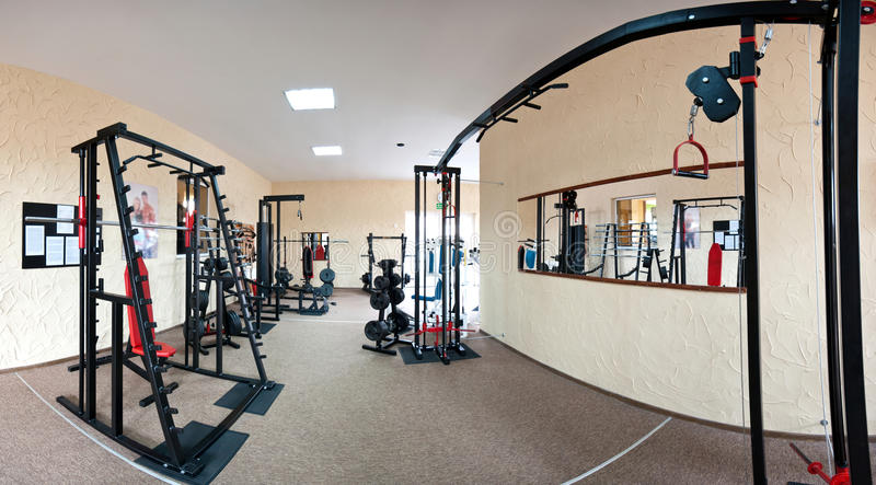 Interior of modern gym stock photos