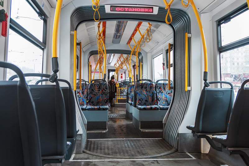Interior of modern high-speed tram in Moscow stock photo