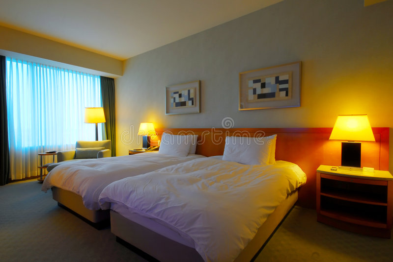 Interior of a modern hotel room stock photography