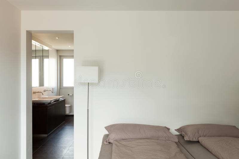 Interior modern house, bedroom royalty free stock image