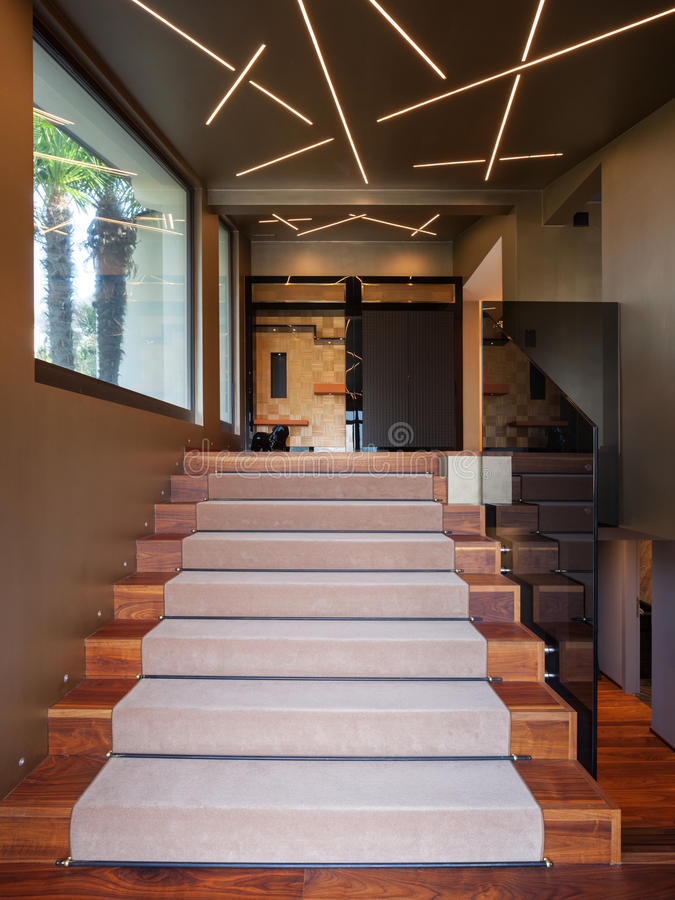 Interior of modern house, detail of staircase, nobody stock photo