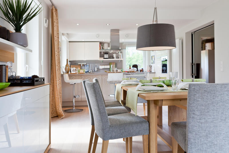 Interior of modern house kitchen stock photography