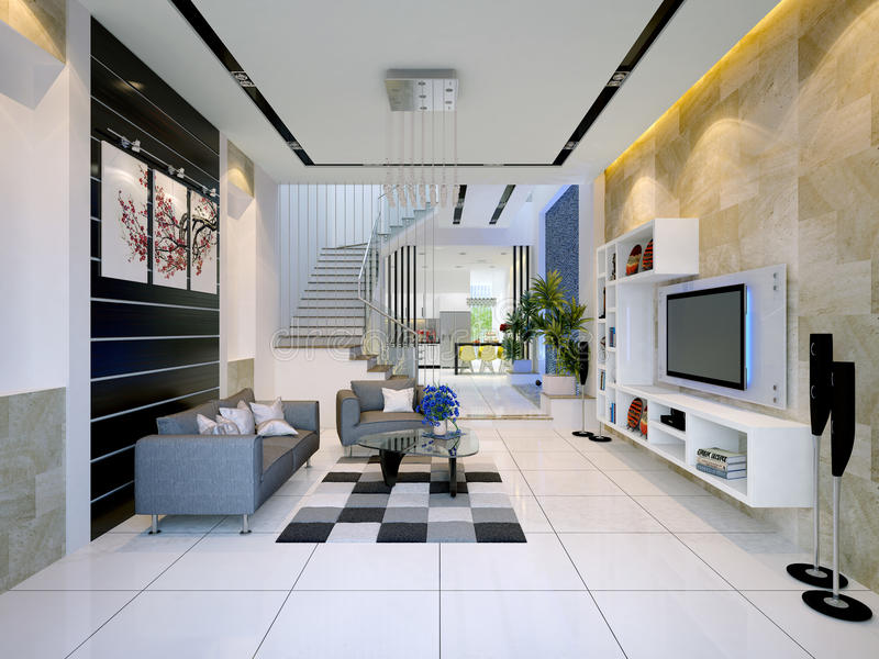 Interior of a modern house with living room stock photos