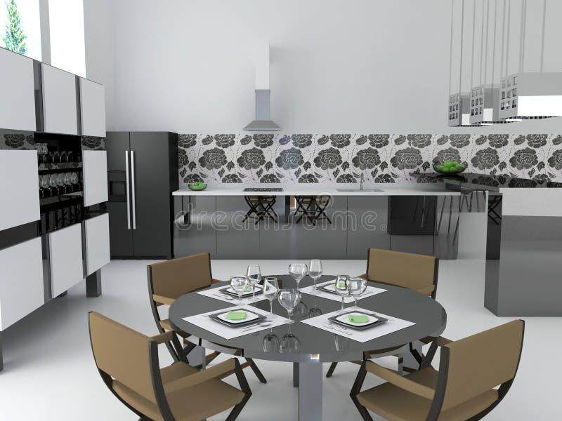 Download Interior of modern kitchen stock illustration. Image of elegance - 18159329