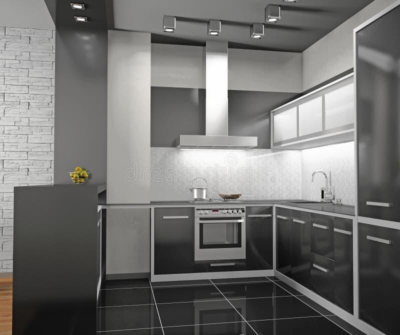 Interior of modern kitchen stock illustration