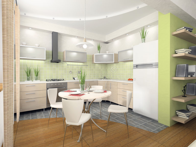 Download Interior of modern kitchen stock illustration. Image of comfortable - 3463626
