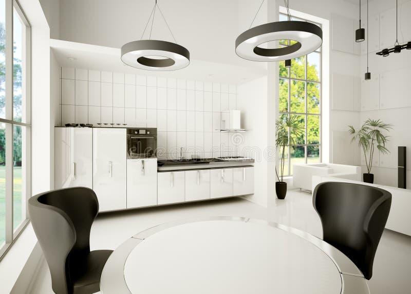 Interior of modern kitchen 3d stock illustration