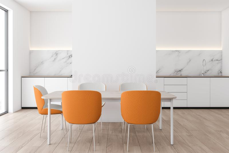 White marble kitchen interior with orange chairs. Interior of modern kitchen with white and marble walls, wooden floor, white countertops with built in sink and stock illustration