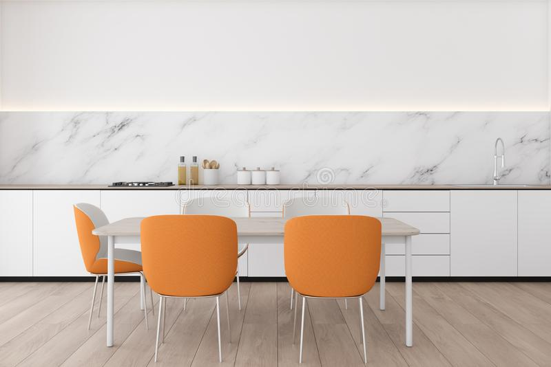 White marble kitchen with orange chairs. Interior of modern kitchen with white and marble walls, wooden floor, white countertops with built in sink and wooden vector illustration