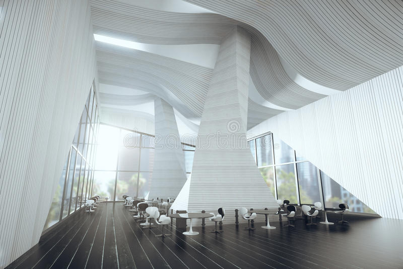 Interior of modern large restaurant with large windows vector illustration