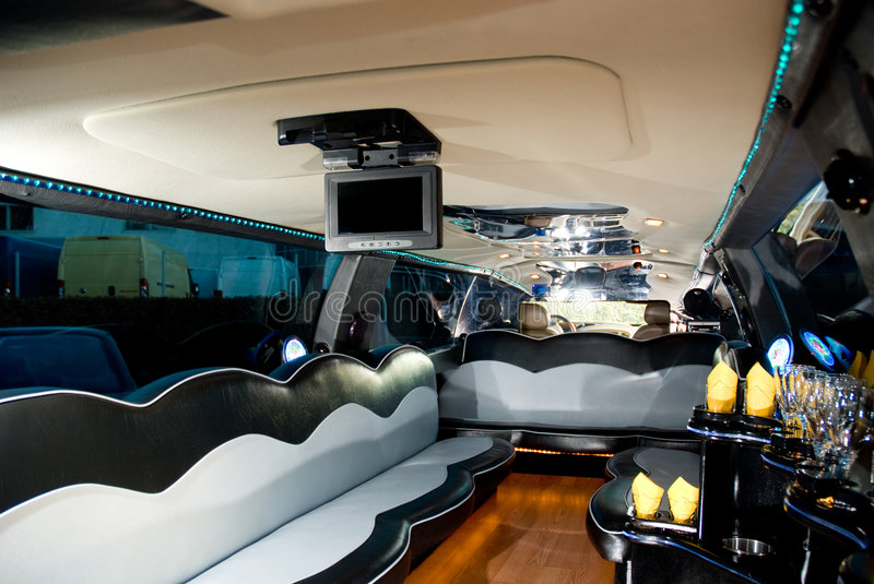 Interior of modern limousine. Clean, fancy interior of modern limousine stock photography