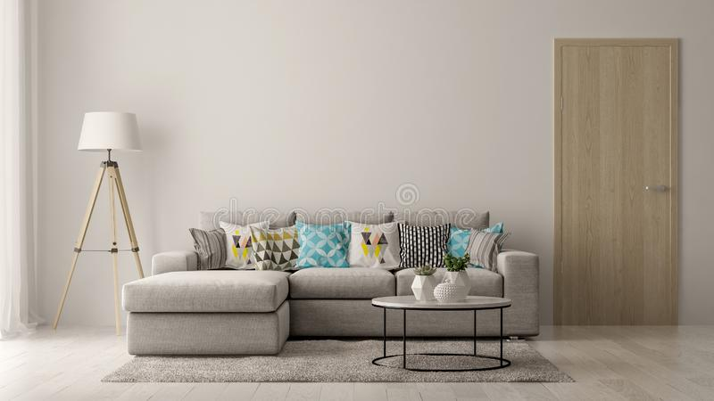 Interior of modern living room with sofa and furniture 3D rendering royalty free stock image