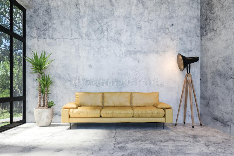 Interior of Modern Loft Concrete Living Room with Retro Style Furniture and Copy Space on Wall for Mock Up, 3D Rendering vector illustration