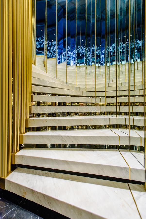 Stairs in modern restaurant. Interior of modern luxrious restaurant with stylized marble stairs stock image