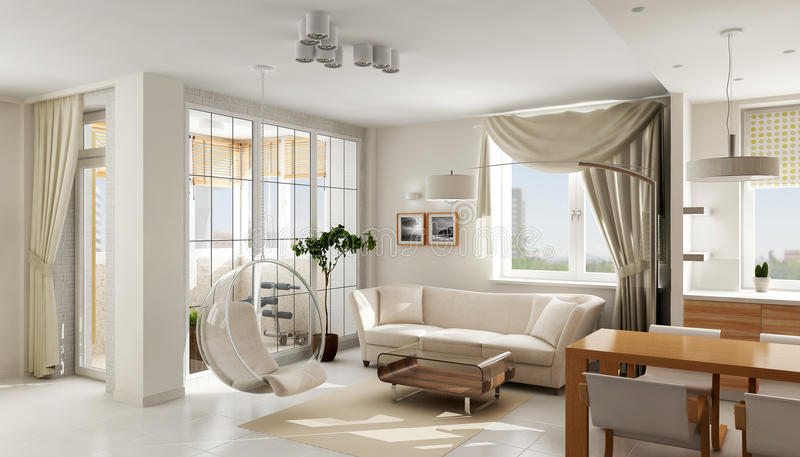 Interior of modern luxury apartment. Interior of modern luxury light apartment, 3D render stock illustration