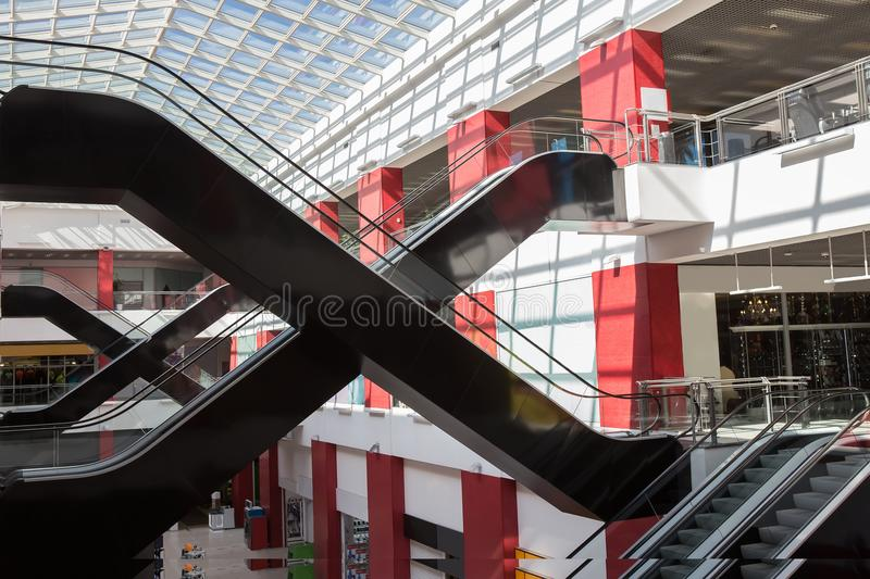 interior of a modern shopping center royalty free stock photo