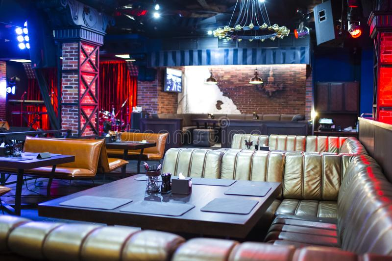 Interior of Modern Night Club with Lighting and Sound Equipment. And Decorated Walls.Horizontal Image Orientaion stock image