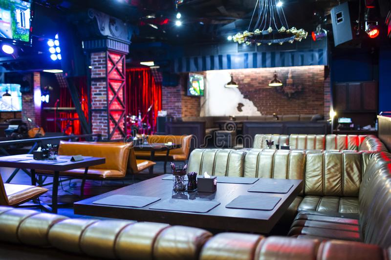 Interior of Modern Night Club with Lighting and Sound Equipment stock photos
