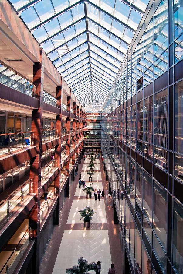 Interior of modern office building stock image