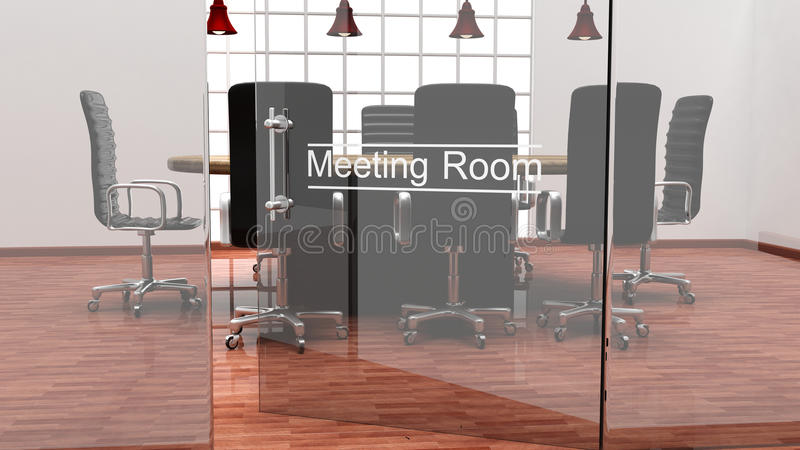 Interior of a modern office meeting room royalty free illustration