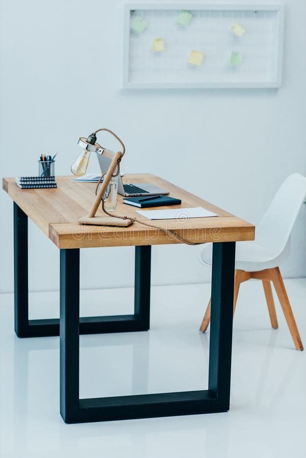 Interior of modern office in trendy. Design style stock photos