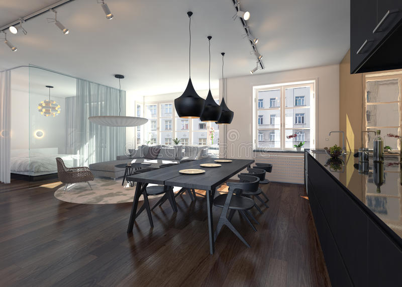 Interior Of Modern Open Concept Apartment Stock Illustration ...