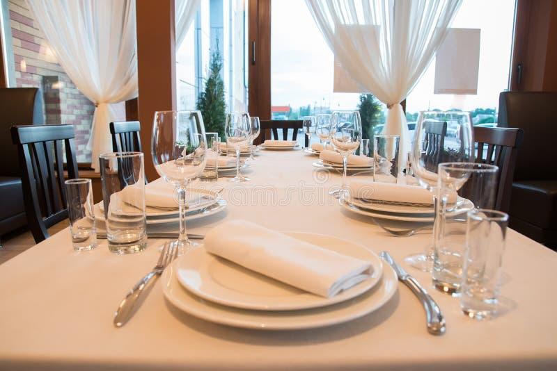 Interior of modern restaurant with bar. Dinner stock photo