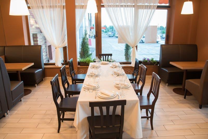 Interior of modern restaurant. With bar dinner stock images