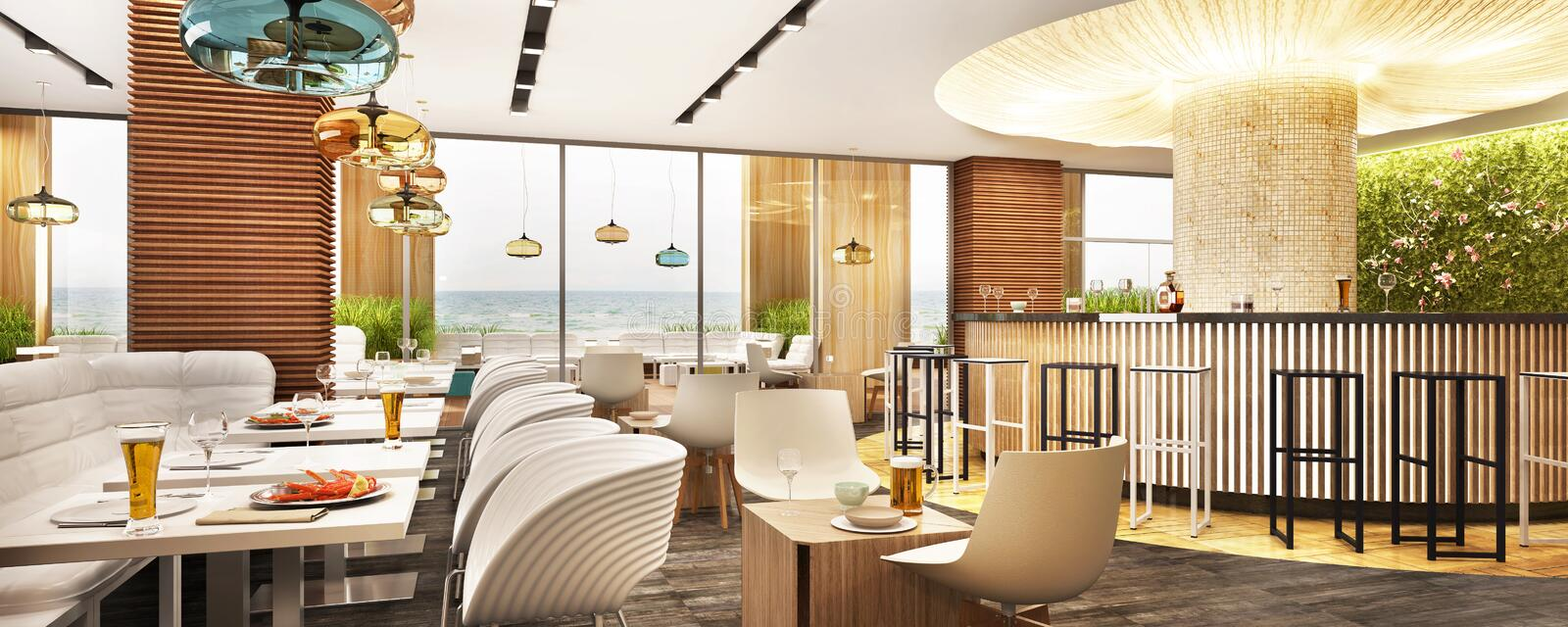 The interior of a modern restaurant by the sea. Restaurant with a beautiful bar and large windows. The interior of a modern restaurant by the sea. With a royalty free stock photo