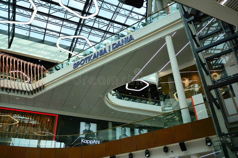 Interior of modern shopping center Galeria Mlociny. Warsaw, Poland. 18 June 2019. Interior of modern shopping center Galeria Mlociny royalty free stock photography
