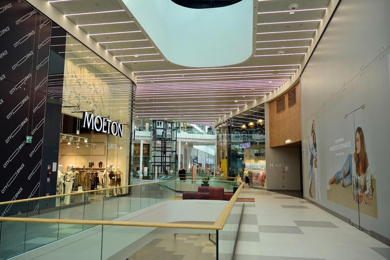 Interior of modern shopping center Galeria Mlociny. Warsaw, Poland. 18 June 2019. Interior of modern shopping center Galeria Mlociny stock images