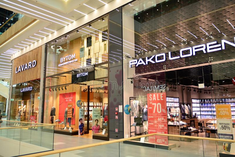 Interior of modern shopping center Galeria Mlociny. stock image